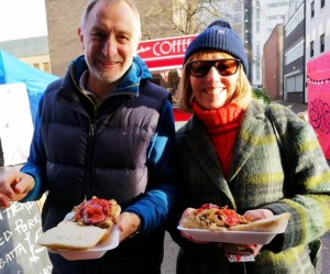 North East - happy customers enoying porchetta in ciabatta